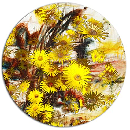 Amazon designart mt14961 c11 yellow flowers watercolor designart mt14961 c11 yellow flowers watercolor illustration floral round wall art disc of 11 mightylinksfo