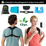Ultimate Posture Corrector 6-Piece Kit – Complete Training Set for Back Pain Relief – Perfect Posture Trainer Support for Women and Men – Heating Pad for Neck, Travel Pillow, Resistance Band by Clips