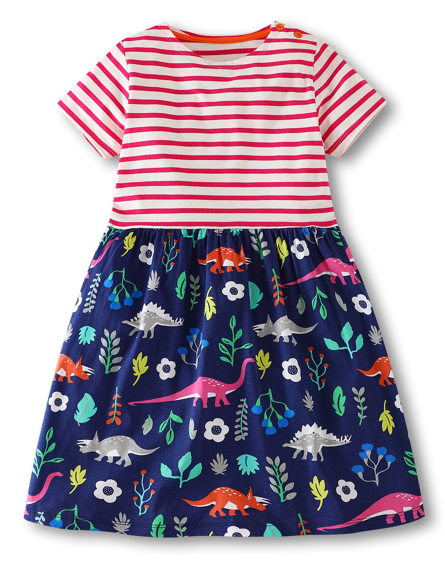 Jobakids Girls Dresses Short Sleeve Summer Cotton Striped Cute Print Pattern Casual Dress for Toddler(6T/6-7YRS,Pink Dinosaur)