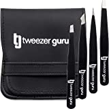 Tweezer Guru 4-piece Tweezers Set - Stainless Steel Slant Tip and Pointed Eyebrow Tweezer Gift Set - Great Precision for Faci