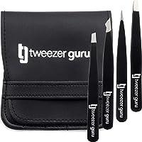 Tweezers Set 4-piece - Tweezer Guru Stainless Steel Slant Tip and Pointed Eyebrow Tweezer Set - Great Precision for…