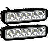 2 Pack - EPAuto 18W 1530lm LED Light Bar Straight Spot Beam Waterproof Mount for Jeep / Van / Wagon / ATV / SUV / Pickup / Off-road