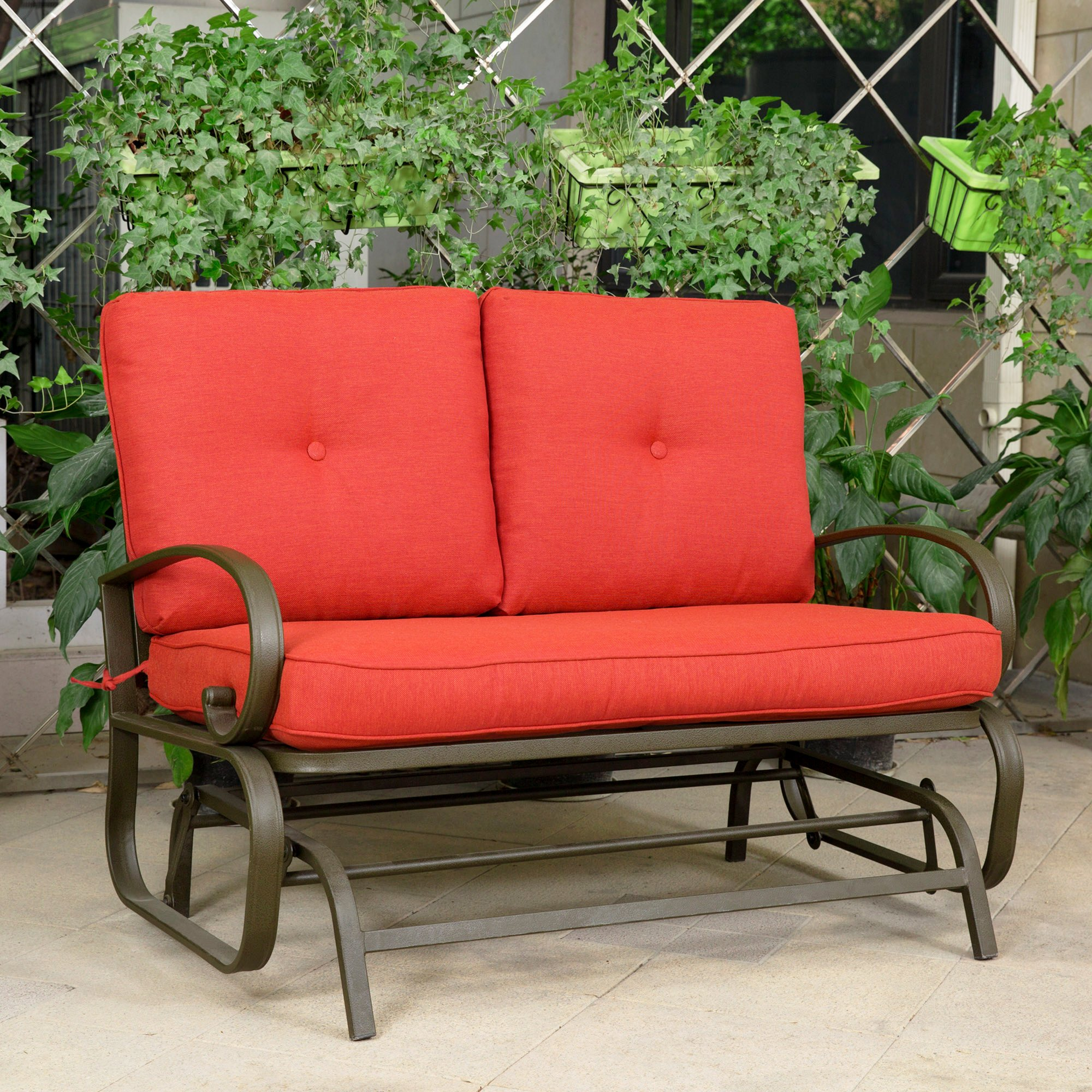 Cloud Mountain Patio Glider Bench Outdoor Cushioned 2 Person Swing Loveseat Rocking Seating Patio Swing Rocker Lounge Glider Chair, Brick Red