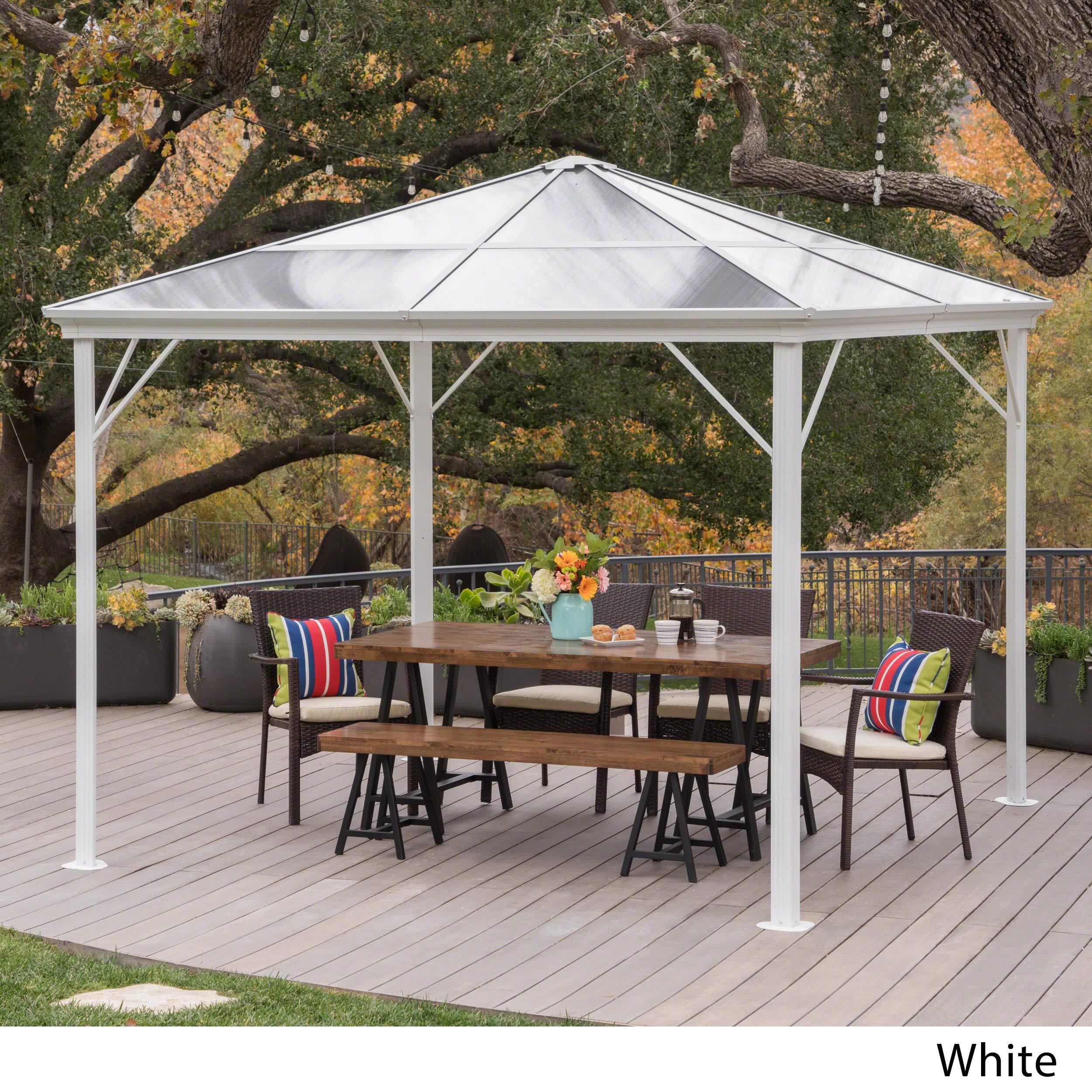 10x10 White Aluminum Pergola Metal Backyard Hardtop Gazebo Outdoor