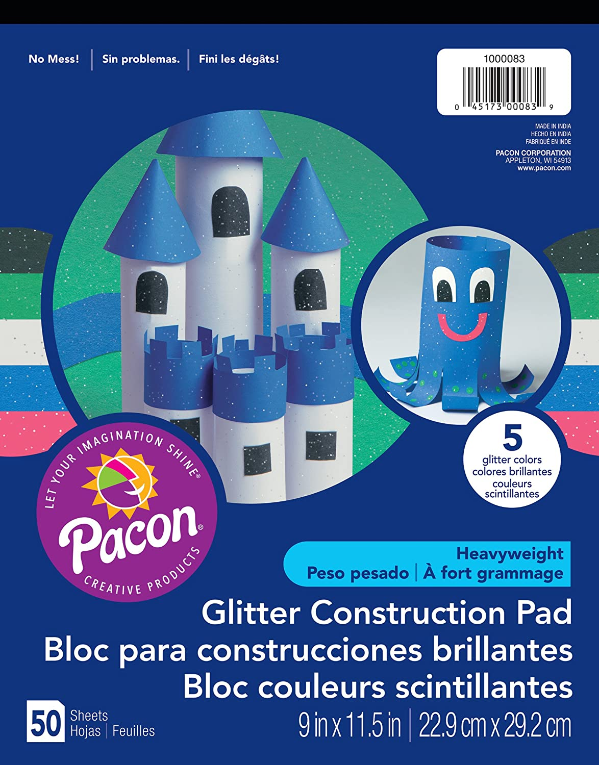 Pacon  Glitter Construction Paper Pad, 5 Assorted Colors,  9' x 11-1/2', 50 Sheets 9 x 11-1/2 1000083
