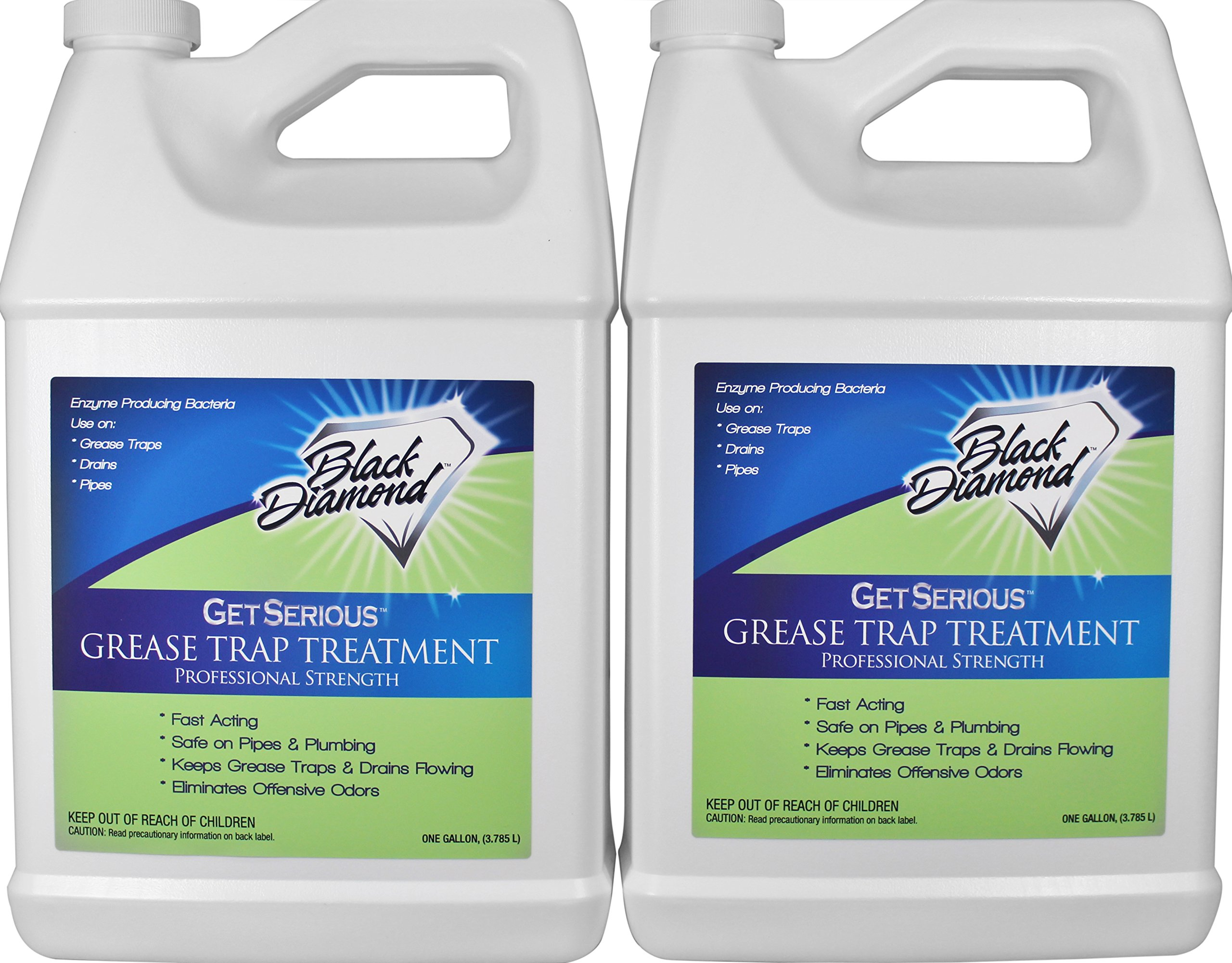 Black Diamond Stoneworks GET SERIOUS Grease Trap Treatment Commercial Enzyme Drain Opener, Cleaner, Odor Control, Trap Cleaning and Maintenance. 2 Gallons.