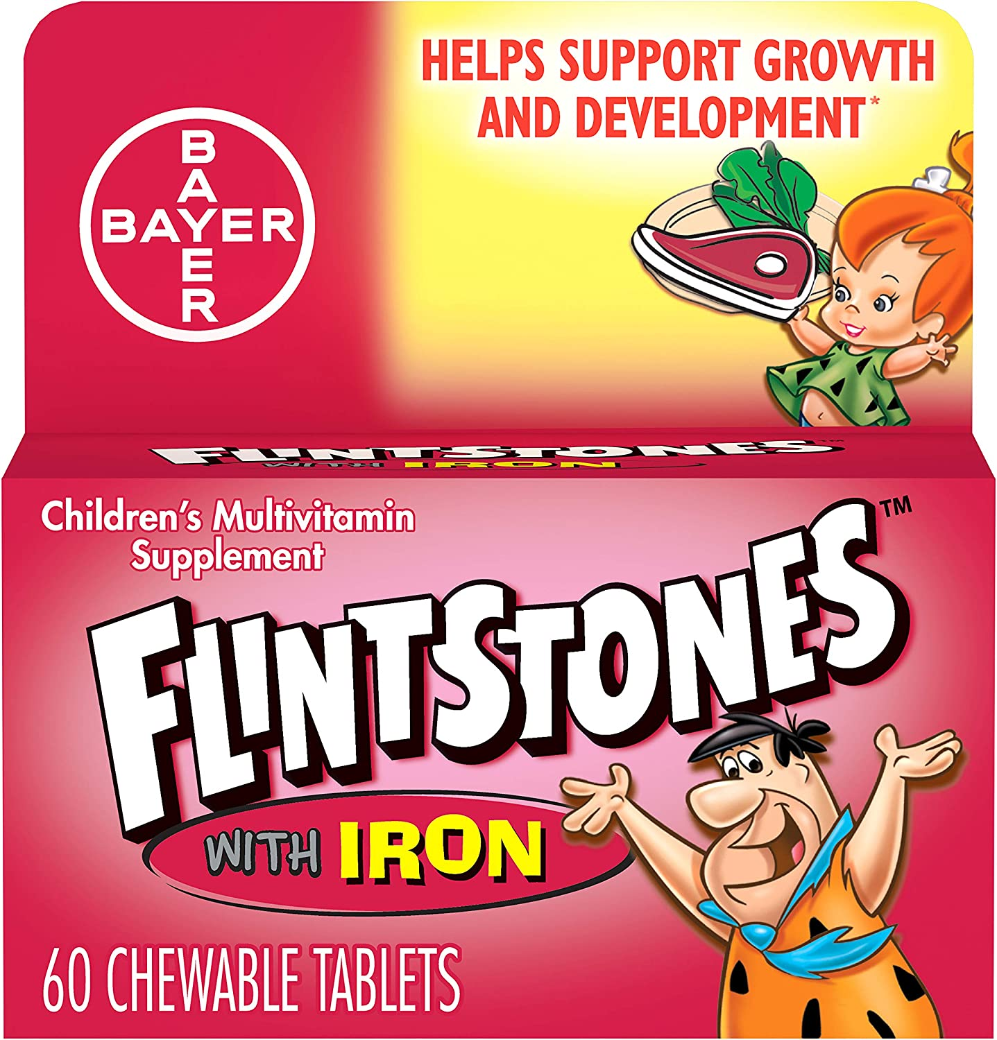 Flintstones Chewable Kids Vitamins with Iron, Multivitamin