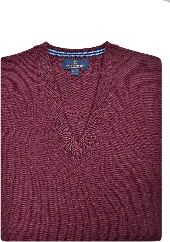 Brooks Brothers Men's Extra Fine Merino Wool Ribbed Hems V