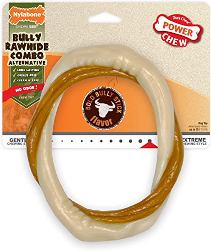 Nylabone Power Chew Extreme Chewing Power Chew Alternative Bully Rawhide Combo Ring Bully Stick Wolf