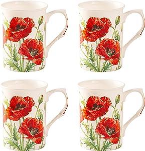 Grace Teaware Bone China Coffee Tea Mugs 9-Ounce, Set of 4 (Wild Poppy)