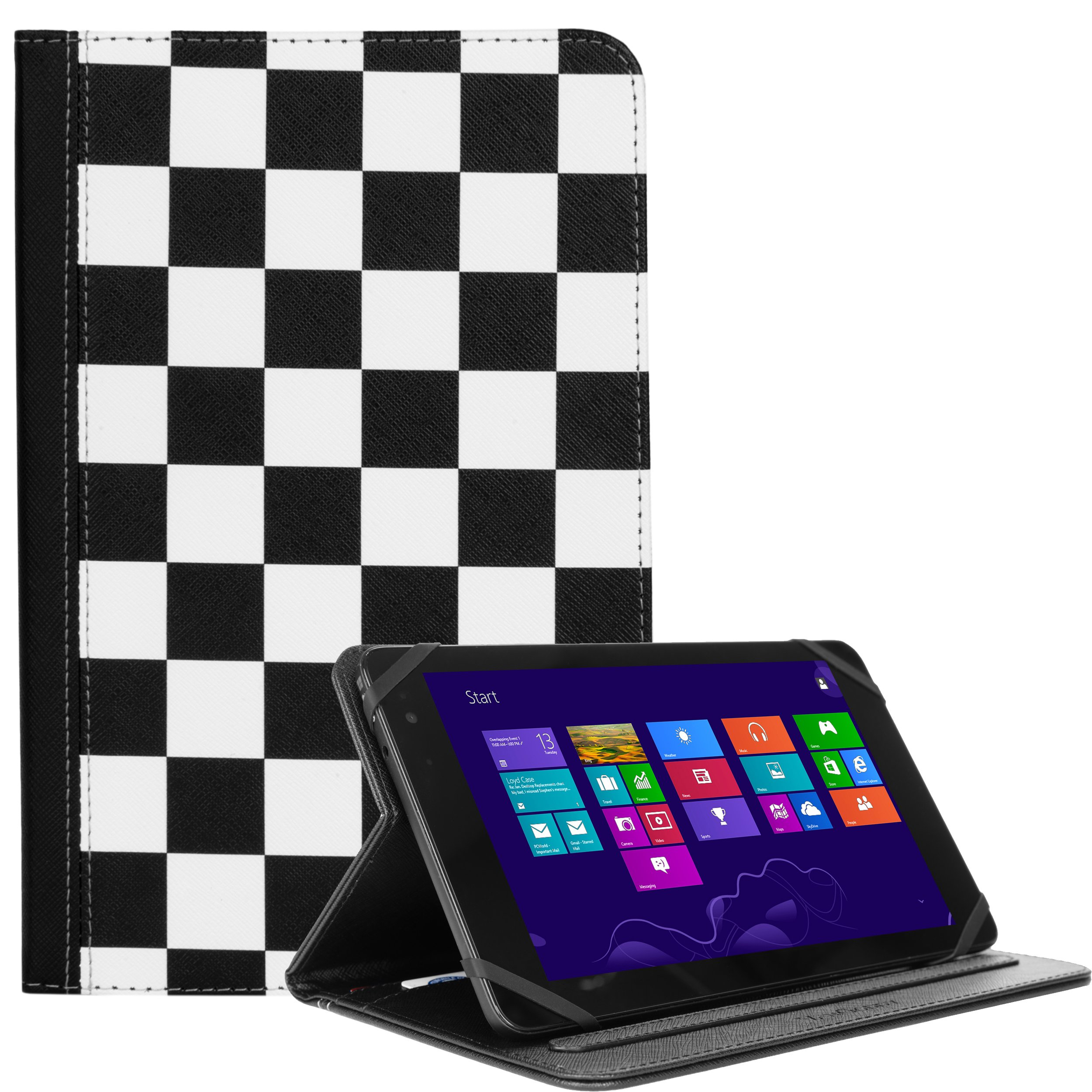 Hard Cover Wallet Portfolio White Checkers For Acer Iconia One/Tab/A/W/7in ~ 8in Tablets (8.0, 8.9)