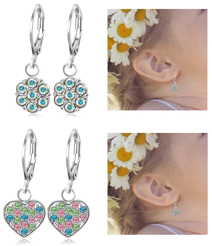 Thunaraz 2 Pairs Stainless Steel Leverback Earrings for Girls Heart Dangle Drop Childrens Earrings Flower Crystal Earrings for Kid TCA-M-E0006-red