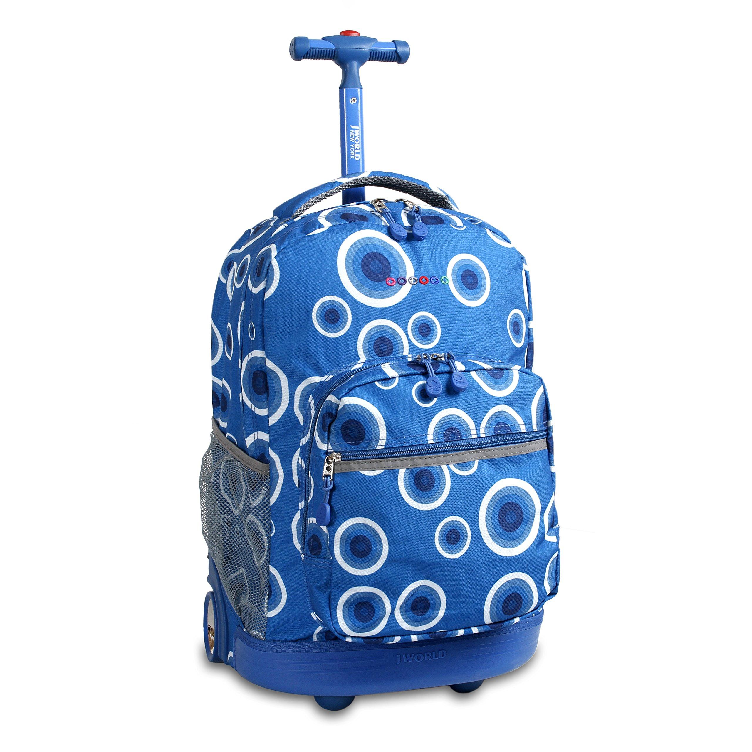 J World New York Sunrise Rolling Backpack, Blue Target, One Size