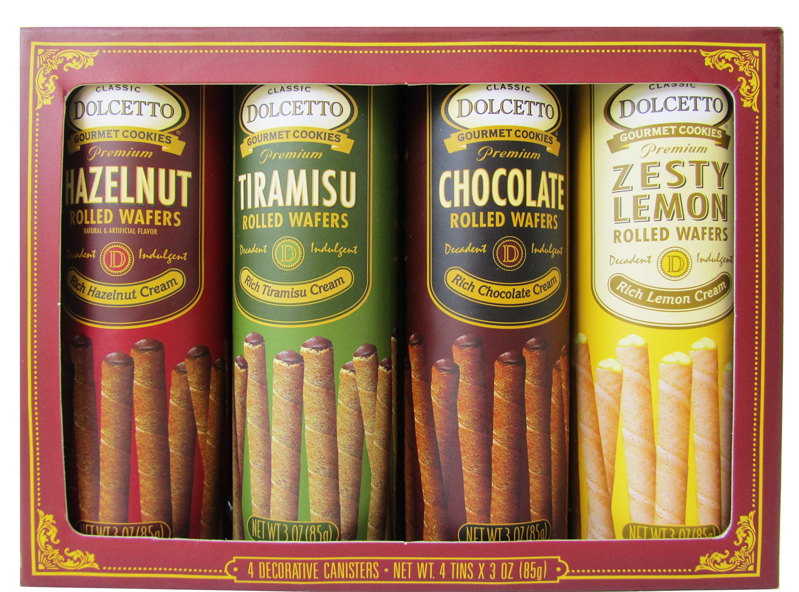 Gourmet Gift Set by Dolcetto - Premium Cream Filled Rolled Wafers Gourmet Cookies 4 Flavor Variety Bundle