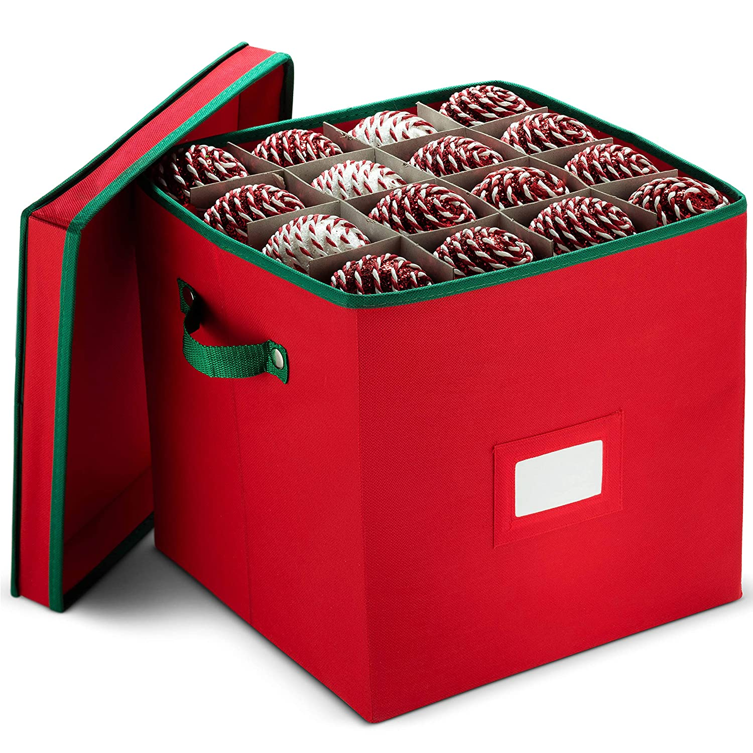 Christmas Ornament Storage Box With Lid - Protect and Keeps Safe Up To 64 Holiday Ornaments & Xmas Decorations Accessories, Durable Non-Woven Ornament Storage Container, 3' Compartments & Two Handles 3 Compartments & Two Handles ZOBER ZCP-109-rd