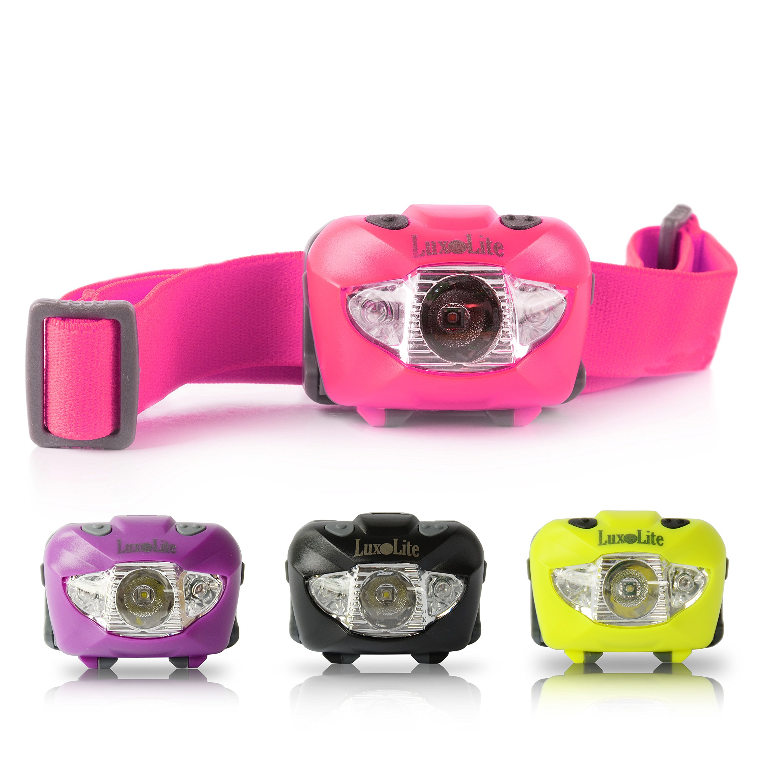 LED Headlamp with Red Light - Brightest Head Flashlight for Women, Kids - Stylish Bright Waterproof Runners Headlamps for Running Kit, Best Outdoor Gear Exploring Products Camping, Walking and Reading by Luxolite
