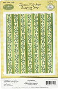 Justrite Papercraft Cling Background Stamp, 4.5 by 5.75-Inch, Christmas Holly Stripes