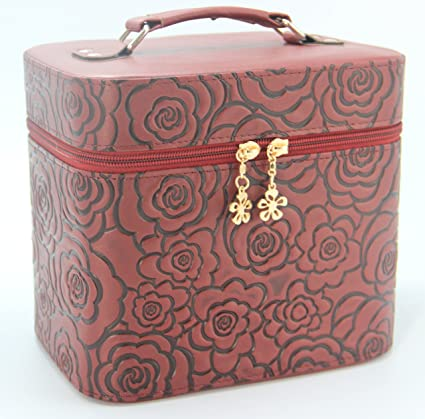 b317bbbacf57 HOYOFO 2-Piece Set 3D Rose Pattern Large Makeup Case Travel Make Up Bag  Cosmetic Train Cases,Brown
