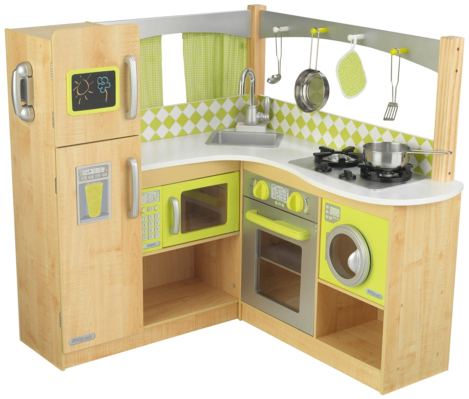 amazoncom new limited edition kidkraft wooden lime green corner  - amazoncom new limited edition kidkraft wooden lime green corner kitchentoys  games