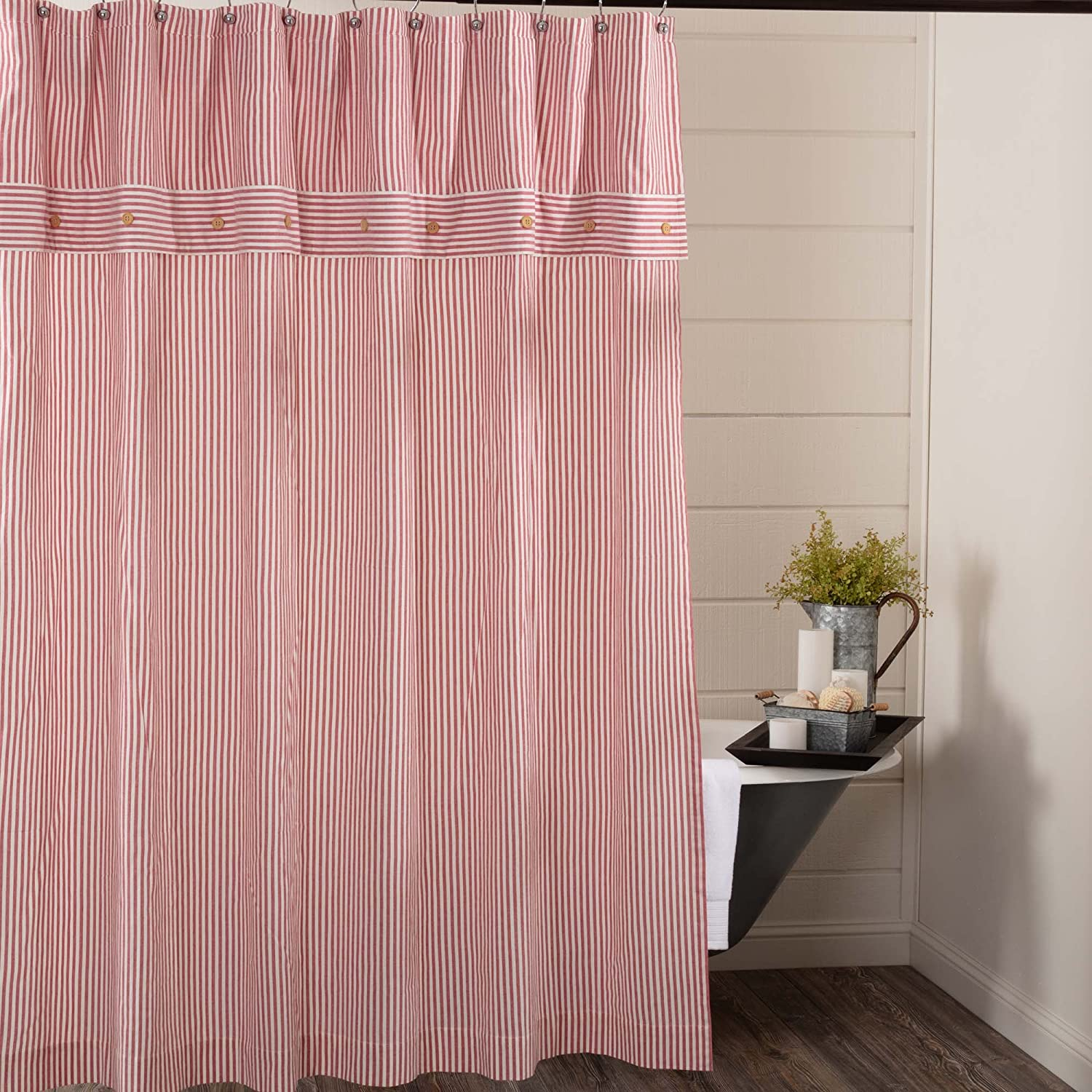 Amazon Piper Classics Farmhouse Ticking Stripe Shower Curtain 72 X Red Home Kitchen