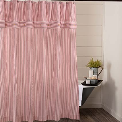 Piper Classics Farmhouse Ticking Stripe Shower Curtain 72quot X Red