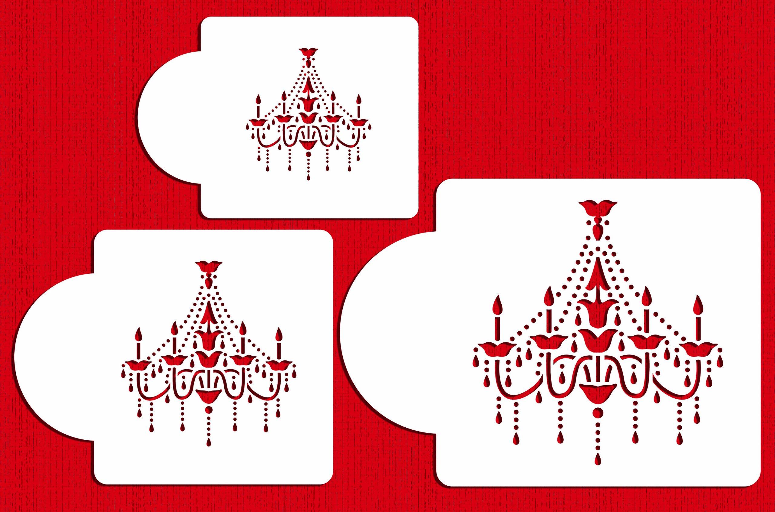 Designer Stencils C474 Chandelier Stencil Set Cake and Cookie Stencils, Beige/Semi-Transparent