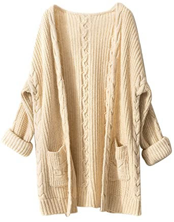 Liny Xin Women s Cashmere Loose Casual Long Sleeve Open Front Oversized Cardigan  Sweater Wool Coat Sherpa 8cbc3c6ce