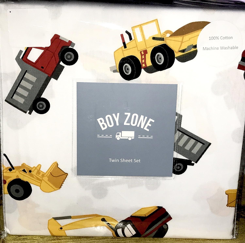 100% cotton - construction vehicles FULL Sheet Set (trucks, front loaders, dump trucks)