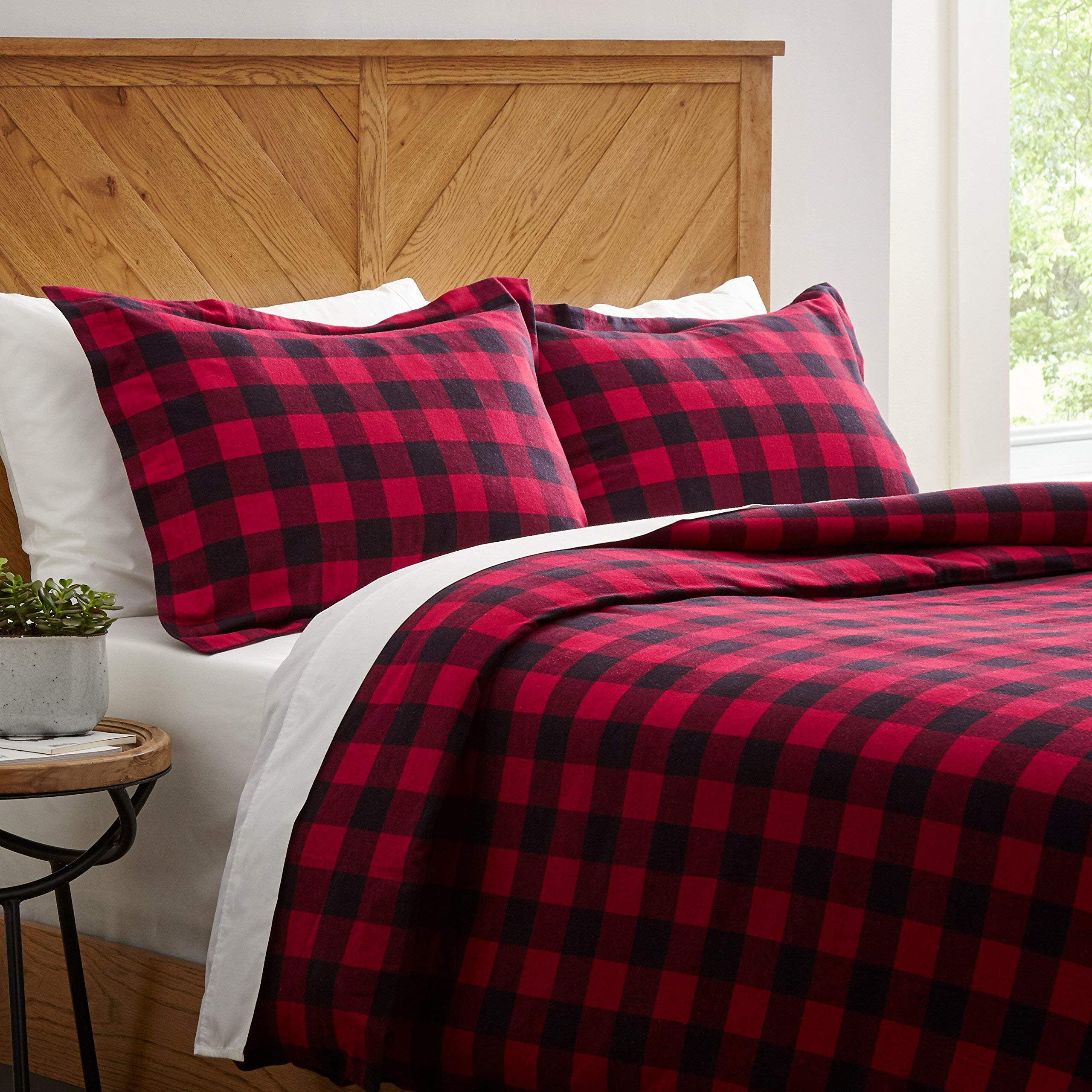 Stone & Beam Rustic Buffalo Check Soft and Breathable Flannel Yarn-Dyed Duvet Set, Full/Queen, Red and Black