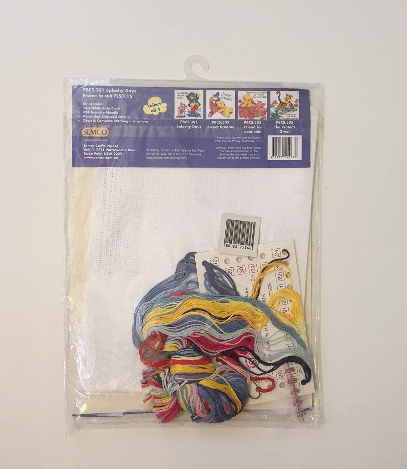 Counted Cross Stitch Kit By Semco Winnie The Pooh Splashy Days Electrical Wiring Colours Australia White 99 X Discontinued Owned Manufacturer Pbsc301 Home Kitchen