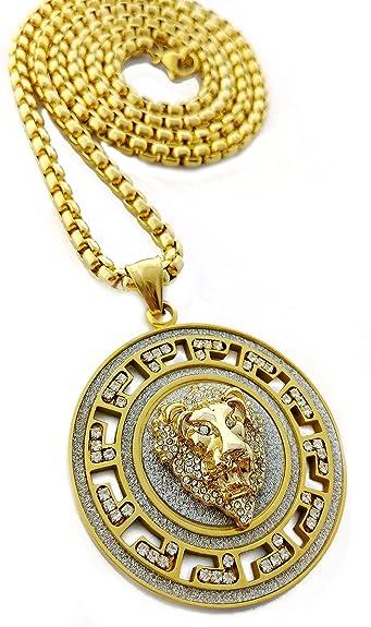 Iced out medallion gold lion pendant stainless steel necklace with iced out medallion gold lion pendant stainless steel necklace with 30 chain gold amazon aloadofball Choice Image