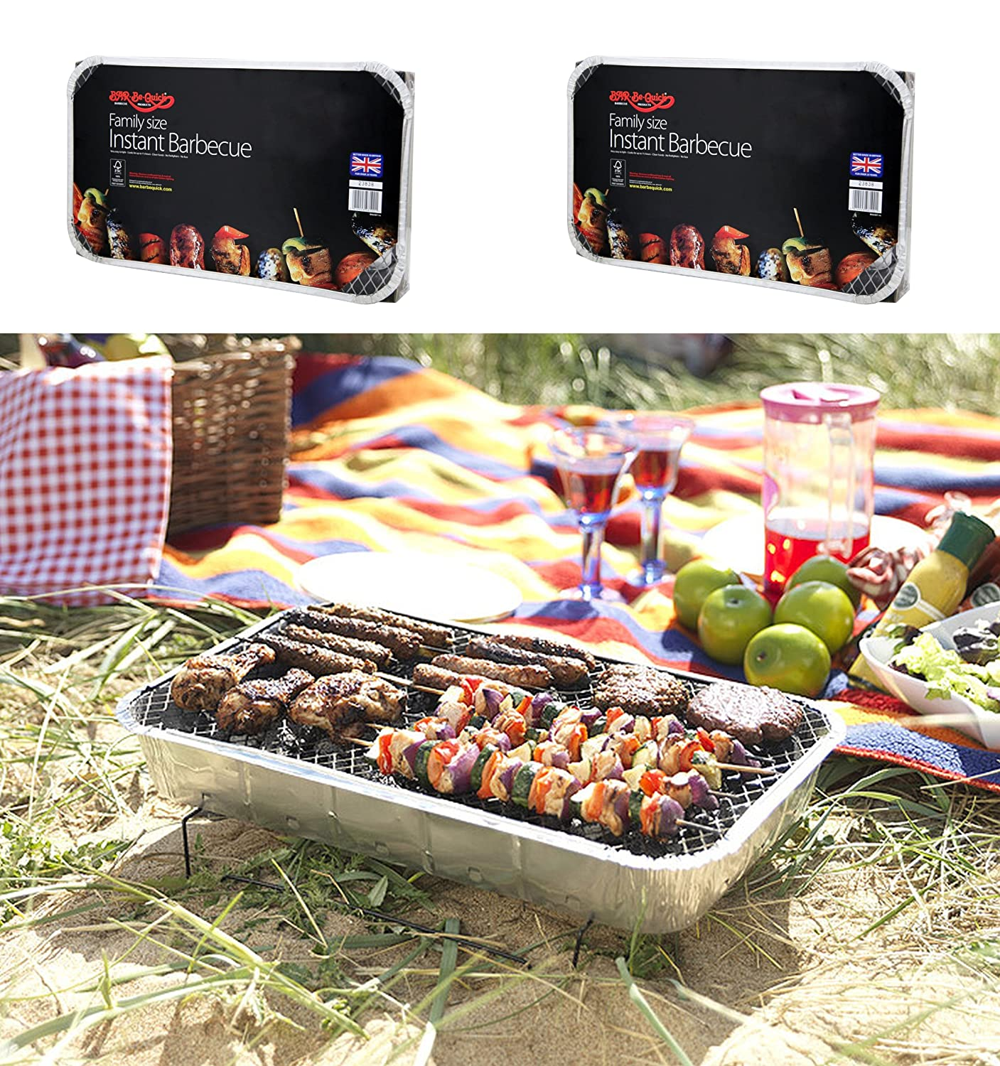 2 X FAMILY SIZE INSTANT DISPOSABLE BBQ- EACH PACK COOKS FOR TEN! Bar-Be-Quick