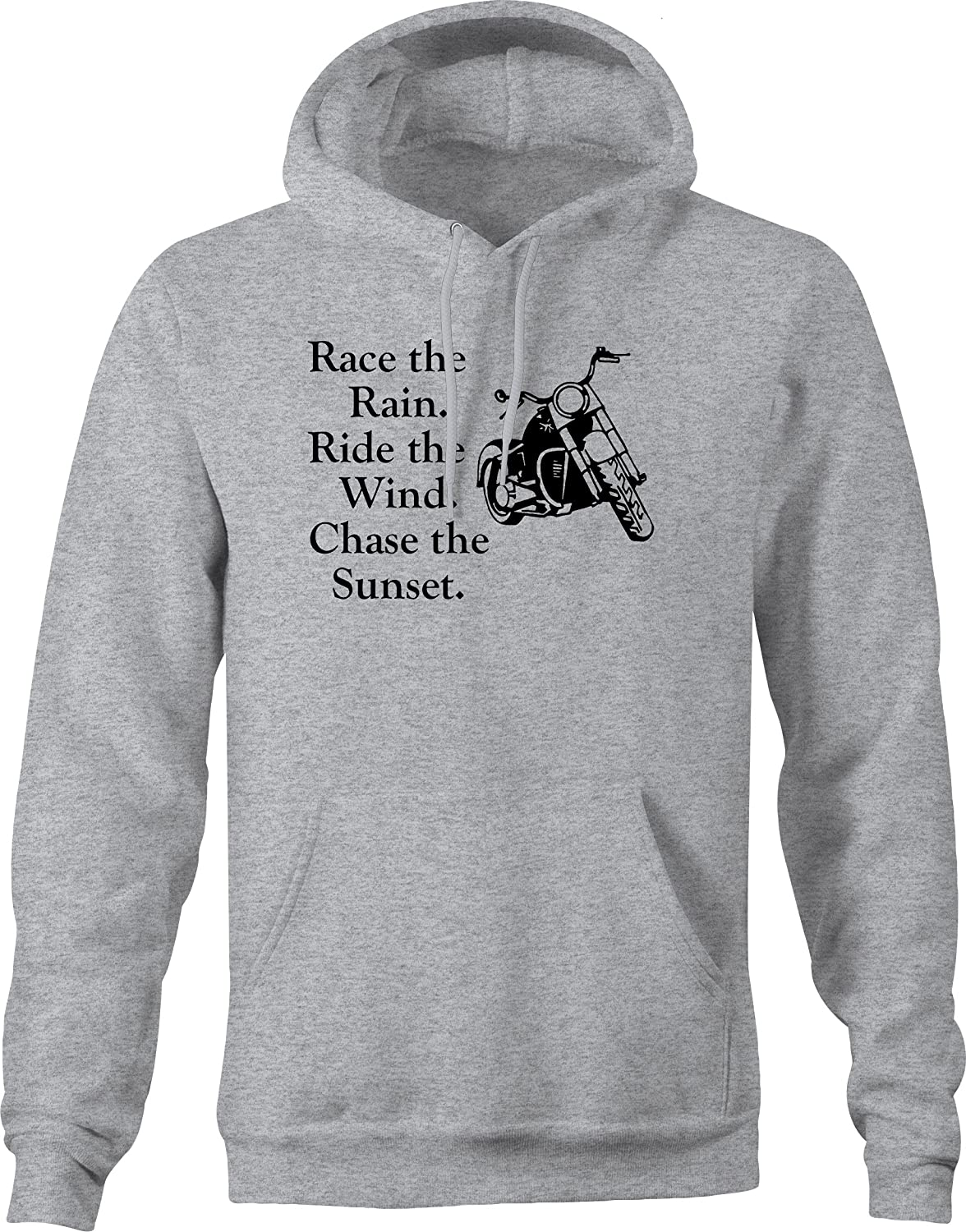 Race Rain Ride Wind Chase Sunset Motorcycle Cruiser Hooded Hoodie for Men