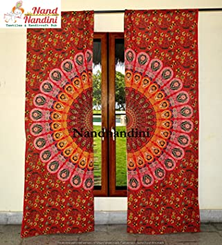 Nandnandini Textile Indische Tur Fenster Pfau Vorhange Boho Mandala Drapieren Volants Vorhang Drapieren Handgemachte Ose Panel Set Duschvorhang