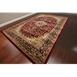 Feraghan/New City Traditional Isfahan Wool Persian Area Rug, 5' x 7'3, Burgundy/Red