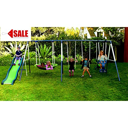 Metal Swing Set With Slide For Backyard Outdoor Kids Fun Play Backyard Durable Construction Park For Physical Activity And Exercise Skroutz