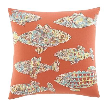 Tommy Bahama Batic Fish 20-inch Decorative Pillow, Antique Palm, Multi Orange