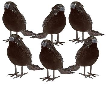 halloween black feathered small crows 6 pc black birds ravens props dcor halloween decorations birds - Halloween Crows