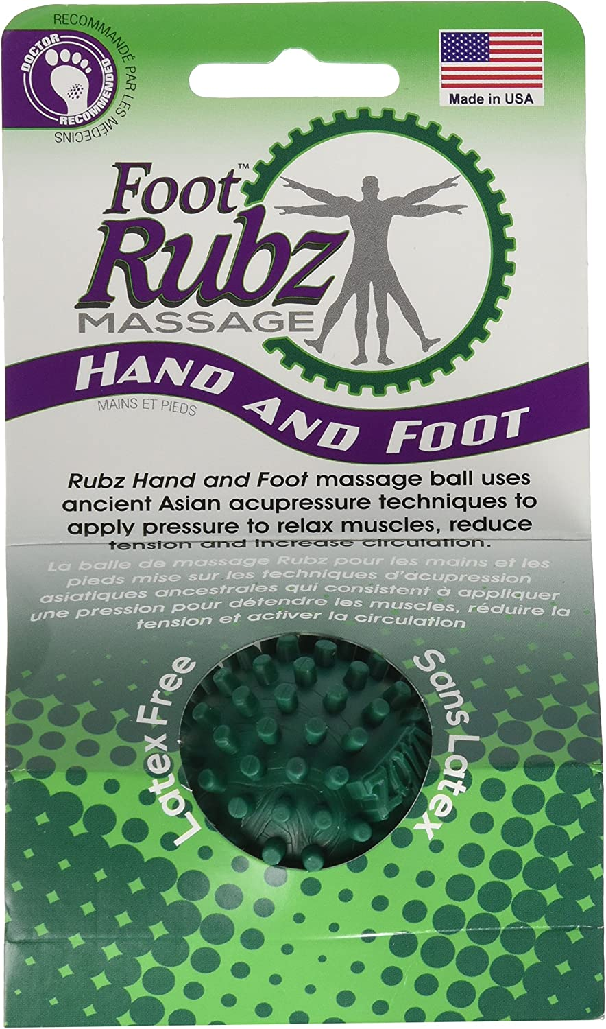 Due North Industrial Foot Rubz Foot Hand & Back Massage Ball, Relief from Plantar Fasciitis, Green