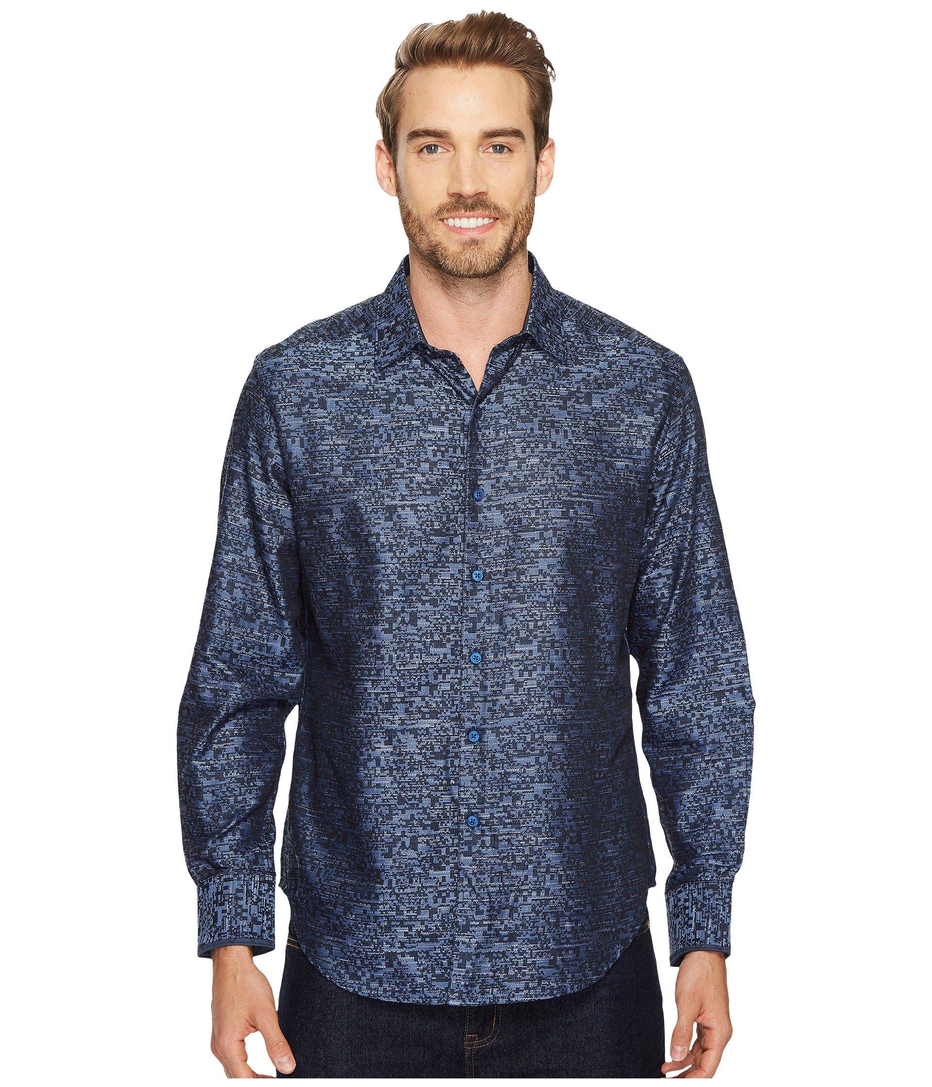 Robert Graham Men's Tern Cotton Classic Fit Sport Shirt, Indigo, Large