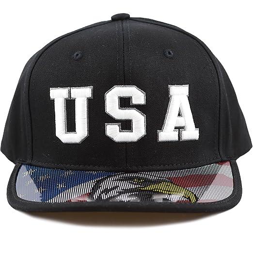 6db19f086708f THE HAT DEPOT  quot USA 3D Embroidered Flat Anti UV Transparent Bill Snapback  Cap (