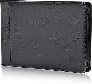 Business Check 7 Ring Checkbook Binder, PU Leather Portfolio, Built in Storage Organizer [Black]