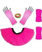 "Neon Pink Tutu Set - Tutu + Leg warmers + Fishnet Gloves Plus Size 12"" Length"