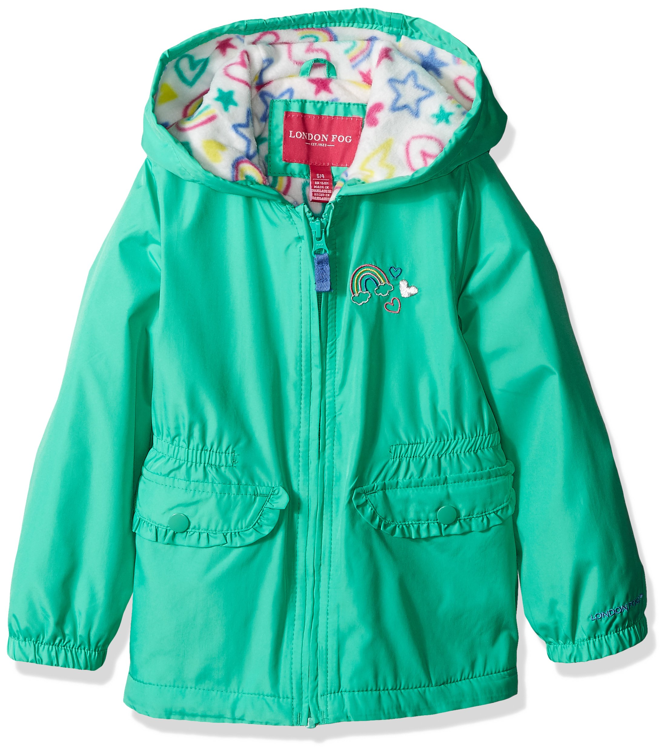 London Fog Little Girls' Fleece Lined Midweight Jacket with Rouched Waist, Mint Leaf, 6X by London Fog