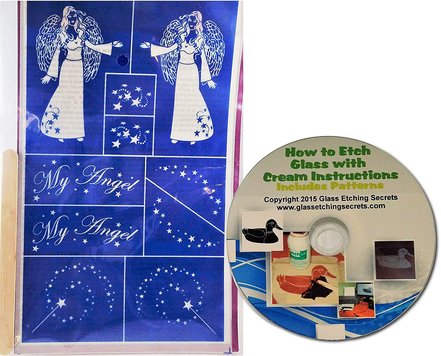 Angel Glass Etching Stencils with Magic Wands & Stars + Free How to Etch CD Armour Products