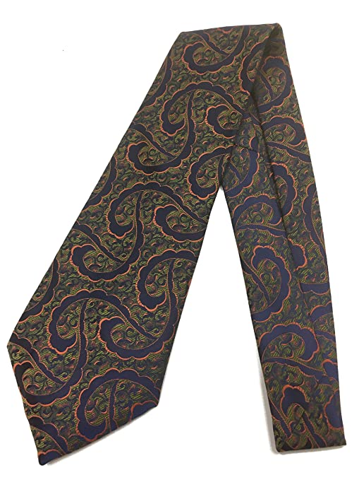 1940s Mens Ties | Wide Ties & Painted Ties Swirly Art Deco Tie - Vintage Jacquard Weave Wide Kipper Necktie - Orange Blue $23.90 AT vintagedancer.com
