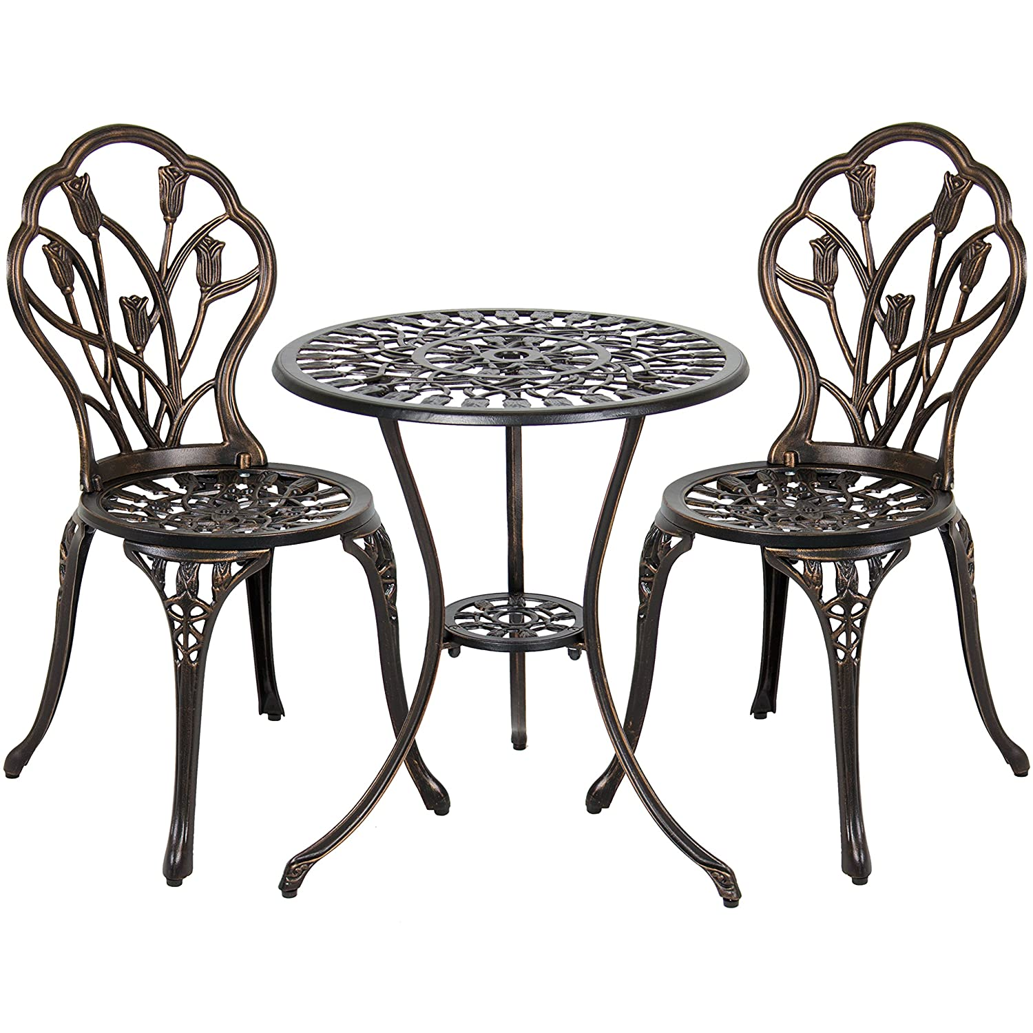 Amazon best choice products outdoor patio furniture tulip amazon best choice products outdoor patio furniture tulip design cast aluminum 3 piece bistro set in antique copper garden outdoor watchthetrailerfo