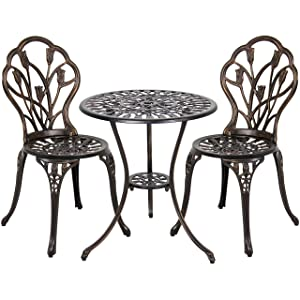 Best Choice Products 3-Piece Cast Aluminum Patio Bistro Set, Outdoor Furniture w/ Tulip Design, Antique Copper Finish, Rust-Resistant