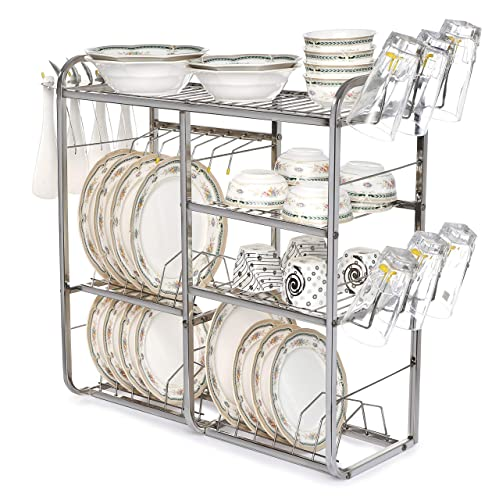 Home Creations 24 Inch Wall Mount Kitchen Dish Rack Plate Cutlery Stand /  Kitchen Utensils Rack