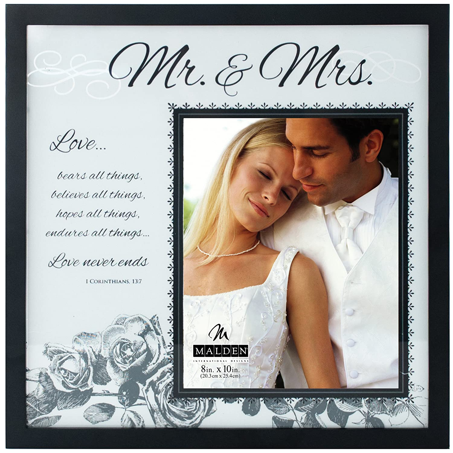 Amazon malden international designs wedding mr and mrs amazon malden international designs wedding mr and mrs glass floater picture frame 8x1016x16 black jeuxipadfo Choice Image